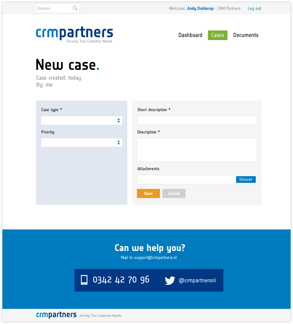 CRM Partners - Klantportaal - New Case